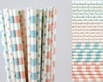 Pink and Blue Paper Straws-Gender Reveal Party Straws-Striped Straws-Baby Blue Straws-Polka Dot Straws-Baby Pink Straws-Baby Shower Straws
