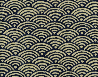 Ocean Waves Fabric, Japanese Indigo Tan Cotton Quilting by the half yard KW-3610-12