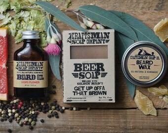 Deluxe Beard Kit. Beard Oil, Beard Wax, and Natural Soap. Vegan Palm-Free Bar Soap.
