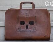 Leather Portfolio with Skull Design on side. -  Día de los Muertos - Day of the Dead - Mustache
