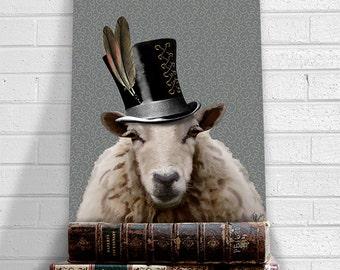 Steampunk Sheep  Top Hat Art Print Poster Acrylic Painting Mixed Media Poster Wall Art Wall Hanging Wall Decor