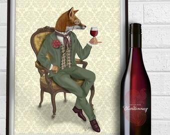 Fox Canvas Print - Fox Wine Tasting, Full  - Fox Canvas art Fox Canvas wall art large canvas print fox poster wine print wine wall décor