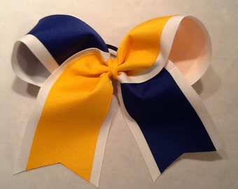 Tick Tock Yellow Gold White Royal Blue Grosgrain Cheer Bow Softball Bows Volleyball Bows Soccer Bows
