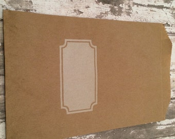 """12 White Notched Box Brown Kraft Paper Gift Bags, 5"""" X 7 1/2"""".  Favor Bags, Party, Wedding, Shower, Candy, Treats"""