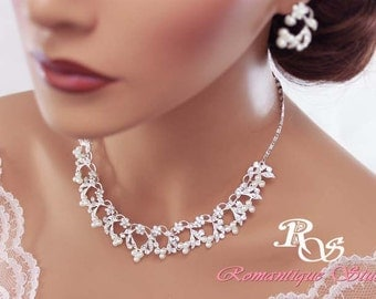 Bridal necklace and earrings set wedding jewelry set pearls rhinestone necklace set bridal jewelry set - S0133