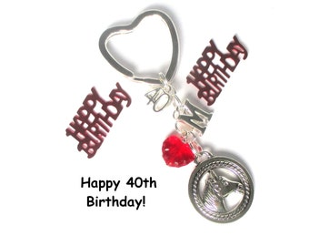 40th birthday gift - Horse keychain - Personalised keyring - Horseriding gift - 40th gift for sister, friend, mum, Aunt - 40th keychain - UK
