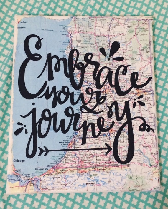 Cute Quotes On Canvas: Embrace The Journey Map Canvas Travel Quote By Kalligraphy