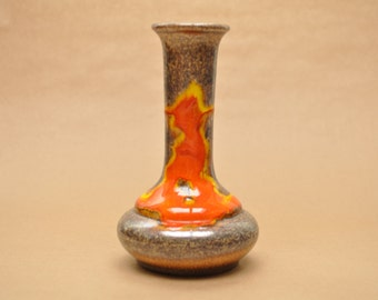 Walter Gerhards vase - West German pottery - vintage vase with metallic glaze - (Soendgen)