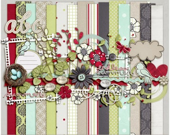 Summer Meadow Kit for Digital Scrapbooking - Papers, Elements, Alpha
