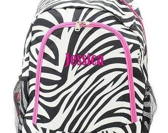 Personalized Backpack Monogrammed Bookbag Zebra Black White Pink Large Full Size Canvas Kids Tote School Bag Embroidered Monogram Name