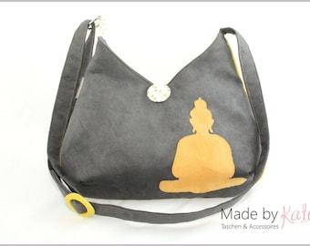 Shoulderbag, bag, cross-body bag, buddha bag, grey bag, individual purse, japanese bag, grey yellow purse, grey yellow bag