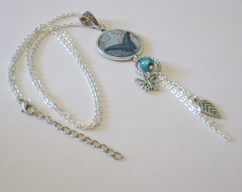 Cabochon turquoise and silver Butterfly Necklace
