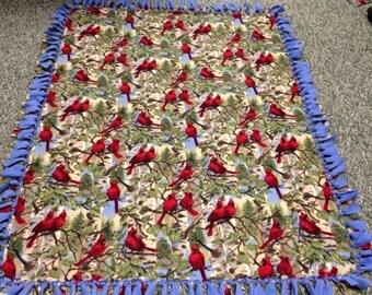 Cardinals Blanket -No Sew Fleece Blanket-Large