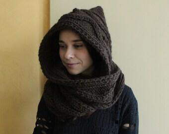 Hooded Scarf. Long Scarf. Wool Scarf. Chunky Scarf. Scoodie Scarf. Wool dark brown Scarf. dark brown hooded scarf, brown knit scoodie scarf