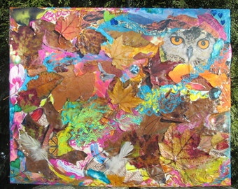 "16"" x 20"" Eco Collage, Original Nature Artwork on Canvas"