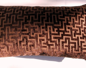 Brown / Beige Geometric Velvet Lumbar Throw Pillow Cover -22 x 11- Handmade-Robert Allen Designer Decorator Velvet- Home Decor- March Finds