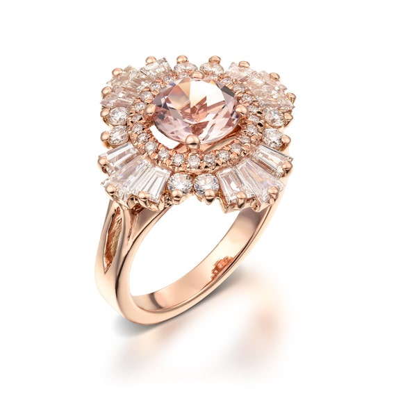 Unique Engagement Ring 18K Rose Gold Diamonds And Morganite, Art Deco  Engagement, Anniversary ring