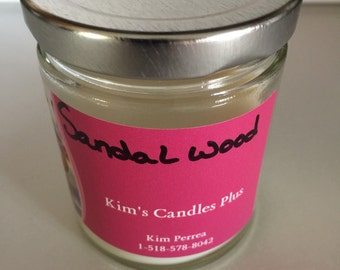 6 Oz Sandalwood scented soy candle in glass jar