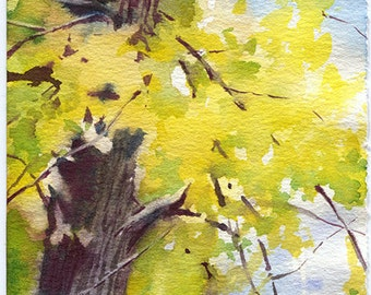 Autumn forest watercolor painting - print of yellow woods painting