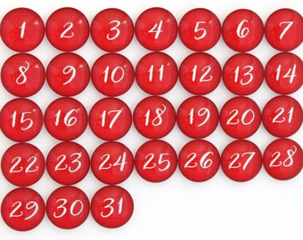 31 Red Calendar Number Glass Magnets