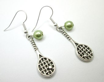 Silver tennis racquet racket and ball charm earrings with 925 sterling silver ear wires, sport jewelry, wimbledon,  us french open,