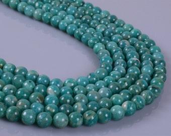 "0888  5mm A Grade Green Russian amazonite round loose gemstone beads 16"""