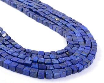 "0148 4mm Blue Lapis lazuli cube gemstone loose beads 16"""