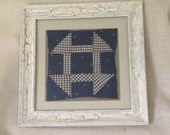 "Antique Hand Stitched Quilt Square Circa 1860's Professionally ""Float"" Matted and Framed 20 x 20"
