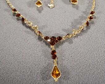 Vintage Art Deco Style Yellow Gold Tone Set Pierced Earrings Dangle Adjustable Necklace Enstatite Colored Jewelry