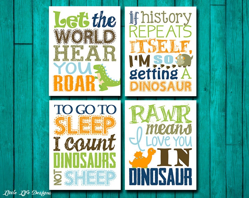 🔎zoom - Dinosaur Wall Art. Dinosaur Wall Decor. Children's Wall