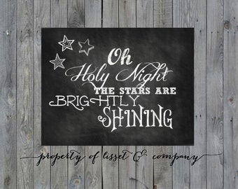 Oh Holy Night Instant Download Chalkboard Style; oh holy night sign; oh holy night