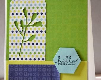 "Card ""Hello sweet friend"" green"