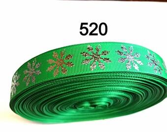 "3 or 5 yard 1"" Big Silver Foil Snowflake on Green Grosgrain Ribbon Hair bow"