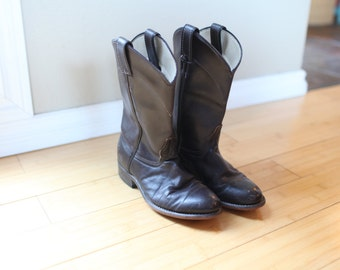 vintage chocolate brown leather cowboy boots womens 7 *