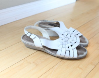 vintage woven white leather wedge sandals womens 8 *