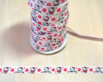 5/8 inch Fold Over Elastic, FOE - Hello Kitty