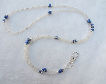 Transparent and Lapis Blue Lanyard. Handmade Beaded ID Badge Holder. Necklace ID Holder. Glass beads, Lapis Lazuli Gemstone and Silver beads