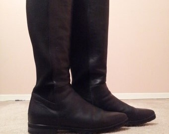 Womens Leather Pointy-Toed Riding Boots