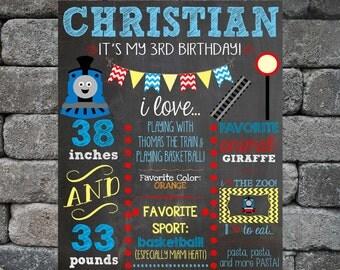First Birthday Chalkboard Printable - Baby, Child Growth, Milestones, Train, Boy, Girl, Growth, Statistics, Birth, Party