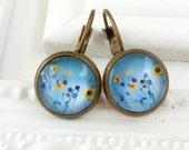 Summer earrings in bronze with flowers in yellow, flower earrings