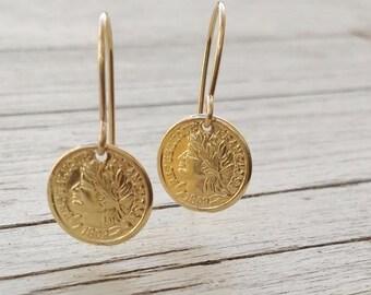Gold earrings, dangle earrings, coin earrings, minimalist earrings, coin jewelry, simple earrings -D70