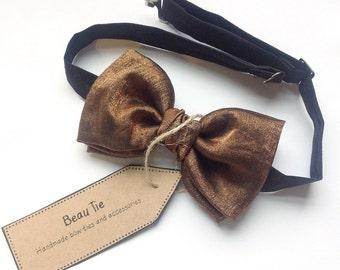 mens bow tie silk bronze, silk bow tie, bronze bow tie, brown bow tie