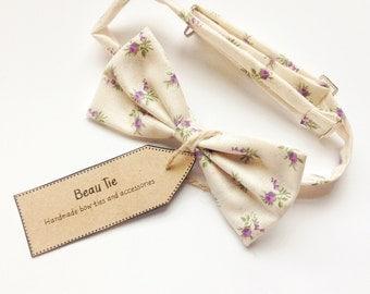 mens floral bow tie, purple floral bow tie, ivory floral bow tie, cotton bow tie, wedding bow tie