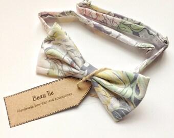 mens bow tie vintage floral, floral bow tie, vintage bow tie, cotton bow tie