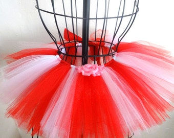 Valentine tutu, Baby Valentines Day tutu, Girls Valentine tutu, Tutu with pink shabby rose,  Red and white baby tutu, Valentines Day tutu