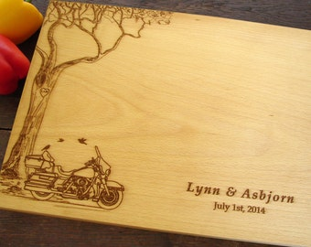 Custom Cutting Board with Tree and Motorcycle Wedding Present Bridal Shower Gift Custom Engraved Wooden Chopping Board Holiday Gift