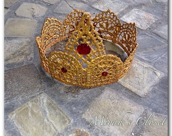 Queen Ann ~ Golden Lace Crown Newborn Gold Tiara Lace Tiara Newborn Lace Crown