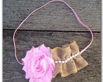 Burlap Princess Pearls ~ Burlap Pink Headband Shabby Chic Pink Headband Burlap Wedding Burlap Flower Girl