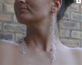 Extra Long Earrings.  Silver Earrings.  Beadwork. Shoulder Duster Earrings. Dangle Earrings