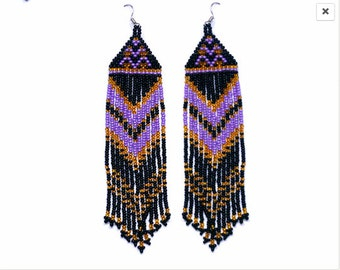 Beaded Native American Earrings  Inspired.  Black  Gold Purple Earrings. Long Earrings.  Beadwork.